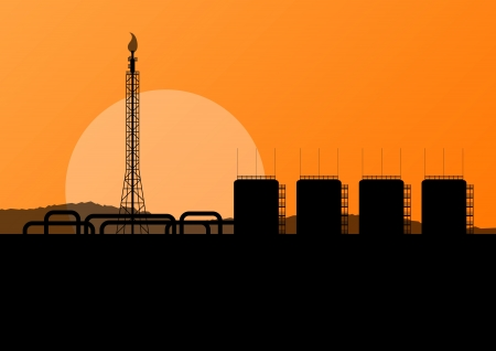 sand asia: Oil refinery industrial factory landscape illustration background for poster