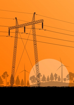 cabling: Power high voltage electricity tower line in countryside forest nature landscape background