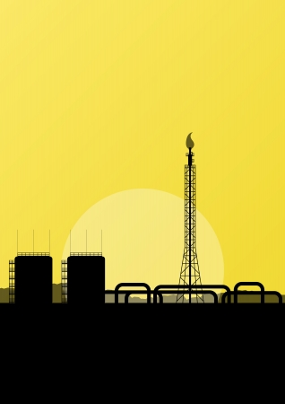 Oil refinery industrial factory landscape illustration background  for poster Vector