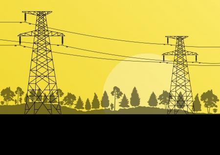 Línea eléctrica torre eléctrica de alta tensión en una zona boscosa naturaleza de fondo de paisaje