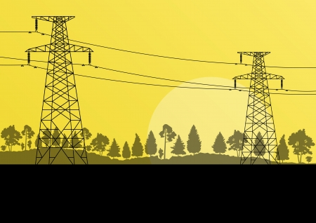 Power high voltage electricity tower line in countryside forest nature landscape background