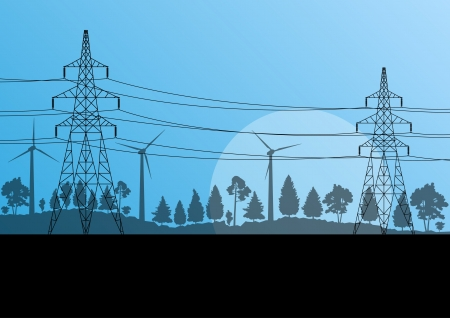 cabling: Power high voltage electricity tower line in countryside forest nature landscape background Illustration