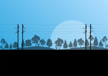 electricity pole: Power high voltage electricity tower line in countryside forest nature landscape background