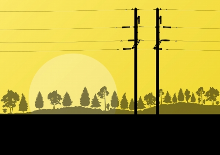 transmission line: Power high voltage electricity tower line in countryside forest nature landscape background