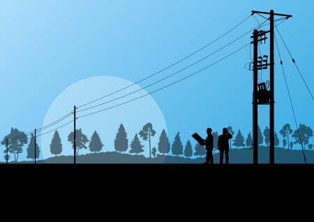 Power high voltage tower with engineer background for poster Illustration