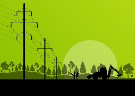 redes electricas: Poder torre de alta tensi?n con el fondo ingeniero para el cartel Vectores
