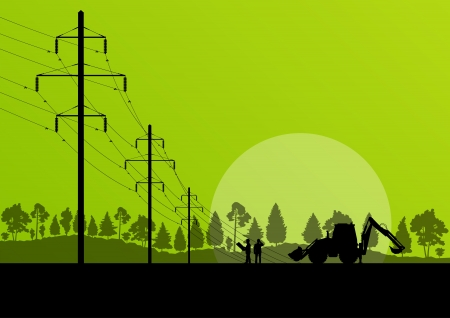 cabling: Power high voltage tower with engineer background for poster Illustration