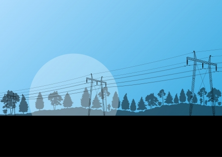 cabling: Power high voltage electricity tower line in countryside forest nature landscape background vector
