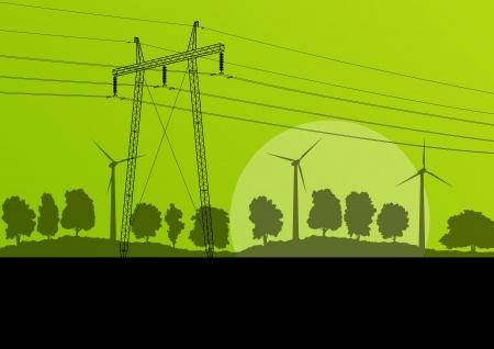 하부 구조: 숲 시골 자연 풍경의 배경에 고전압 전기 탑 라인