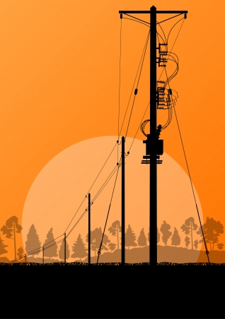 electricity generator: Power high voltage electricity tower line in countryside forest nature landscape background