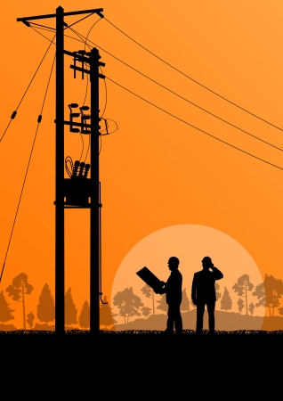 Power high voltage tower with engineer  background for poster Vector