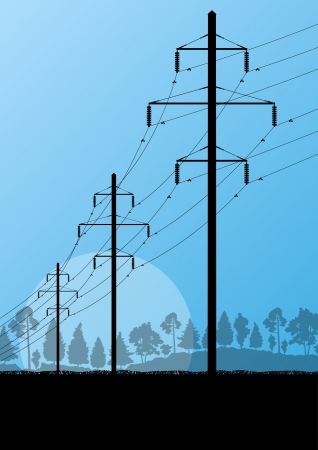 transmission line: Power high voltage electricity tower line in countryside forest nature landscape background Illustration