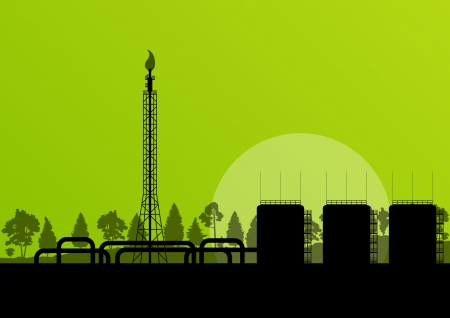 oil and gas: Oil refinery industrial factory landscape illustration background for poster