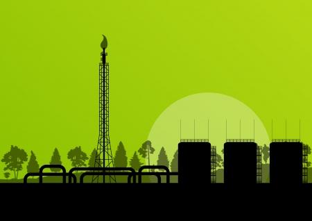 paesaggio industriale: Raffineria di petrolio industriale fabbrica paesaggio illustrazione sfondo per il manifesto
