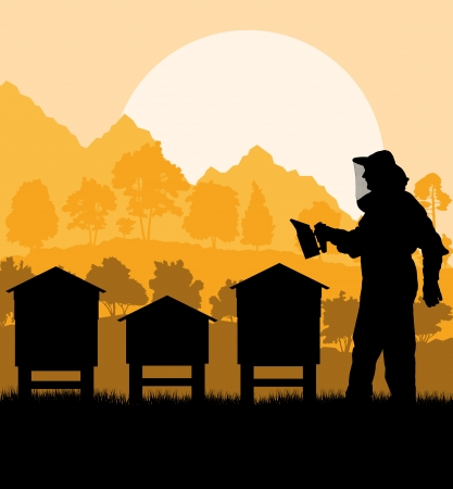 Beekeeper working in his apiary background Illustration
