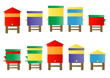 saturated color: Bee hive background set