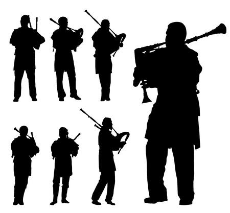blazer: Scottish bagpiper silhouette background set
