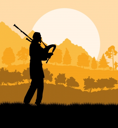 Scottish bagpiper silhouette landscape background Illustration