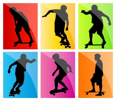 skateboarder: Skateboarder silhouette set background