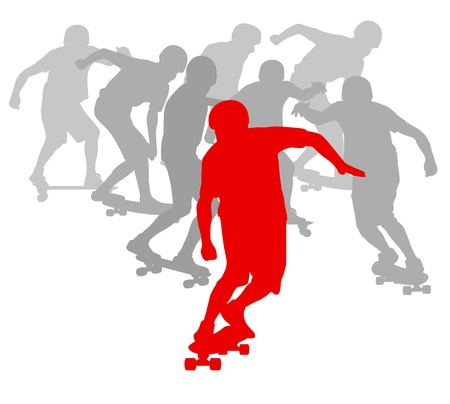 tripping: Skateboarder winner in front of crowd background concept