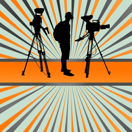 film shooting: Cameraman silhouette background