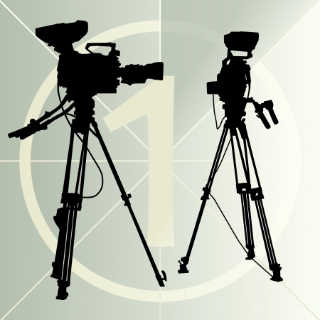 Digital video camera on the tripod and film countdown number Vector