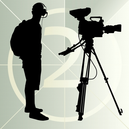 cinematographer: Cameraman silhouette background and film countdown number Illustration