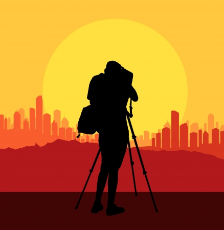 cinematographer: Cameraman silhouette background filming city