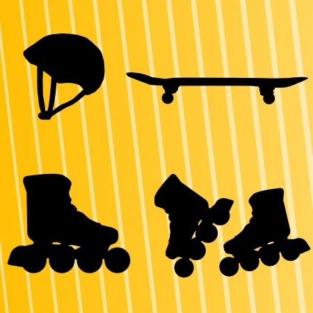 Roller skate, skateboard and helmet background Vector