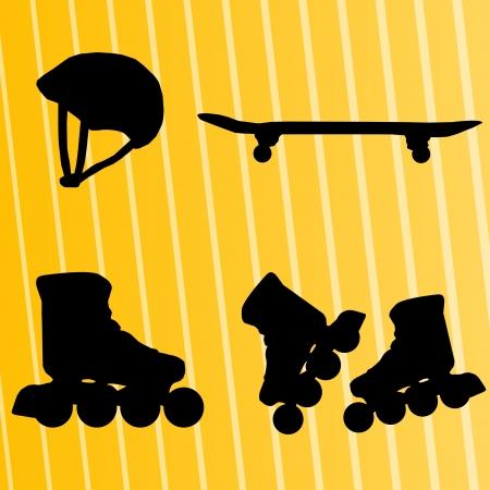 inline skating: Roller skate, skateboard and helmet background