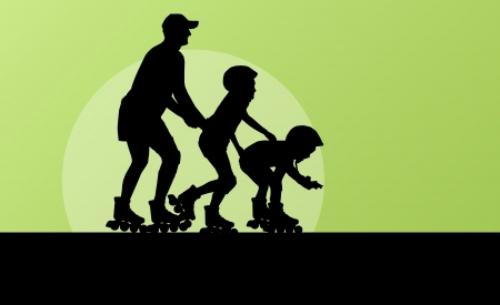 inline skate: Family in roller skates background concept