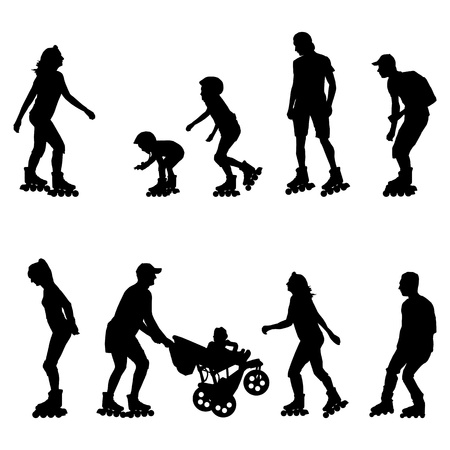 Rolschaatsen, in lijn skaters achtergrond set met man, vrouw, tiener en jonge geitjes