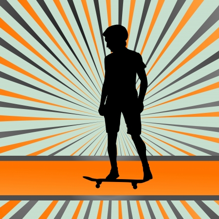 skateboarder: Skater silhouette in front of burst background Illustration