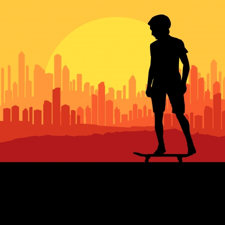 skateboarding tricks: Skater silhouette in front of city landscape background Illustration
