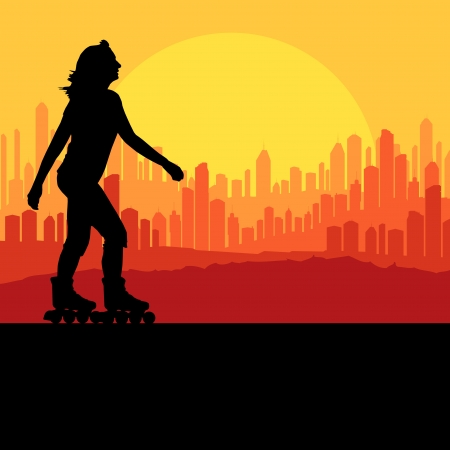 rollerskate: Woman roller skating background with city and sunset Illustration