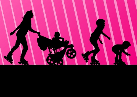 Family in roller skates background concept Vector