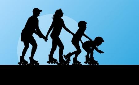 patinar: Familia en patines concepto de fondo Vectores
