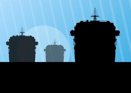 a battleship: Navy military battleships with guns in ocean landscape background illustration Illustration