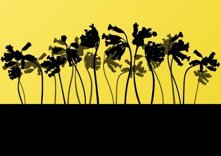 untamed: Wild larkspur plants detailed silhouettes illustration collection background
