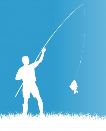 hombre pescando: Pescador en el concepto de fondo por la ma�ana