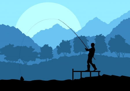 anglers: Fisherman in the morning background concept landscape