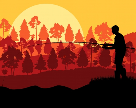 freshwater fishing: Fisherman in the morning background concept landscape