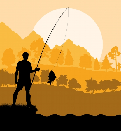 salmon fishing: Fisherman in the morning background concept landscape