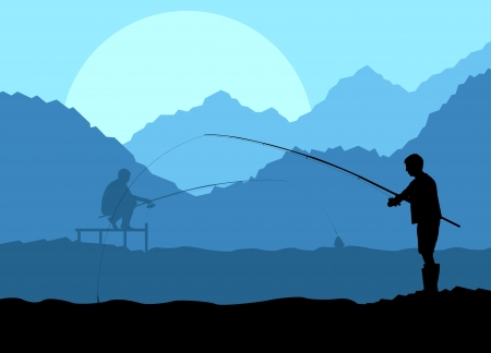 Fisherman in the morning background concept landscape Vector