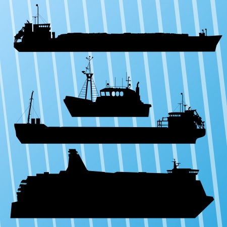 Freight ship, fishing boat and travel ferry boat set silhouettes background