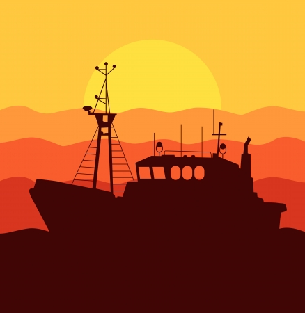 fisherman boat: Fishing boat sunset background concept Illustration