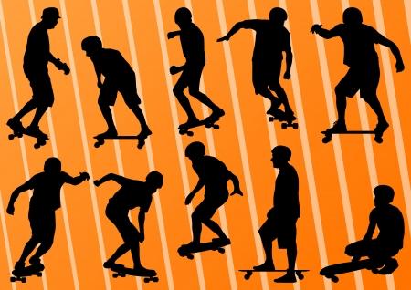 skateboard park: Skateboarders siluetas detallada ilustraci�n de fondo Vectores