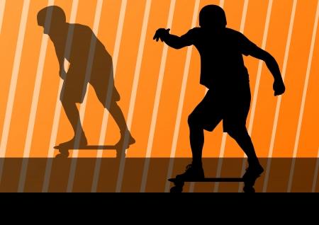 skate park: Skateboarders detailed silhouettes illustration background