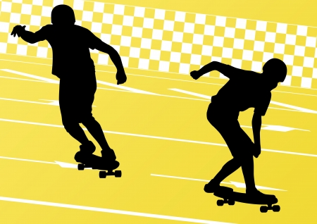 tripping: Skateboarders detailed silhouettes illustration background