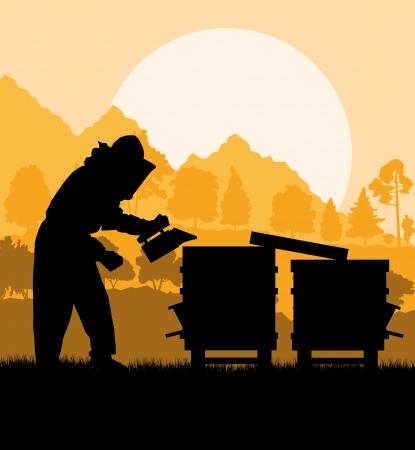 養蜂家養蜂場の背景での作業  イラスト・ベクター素材